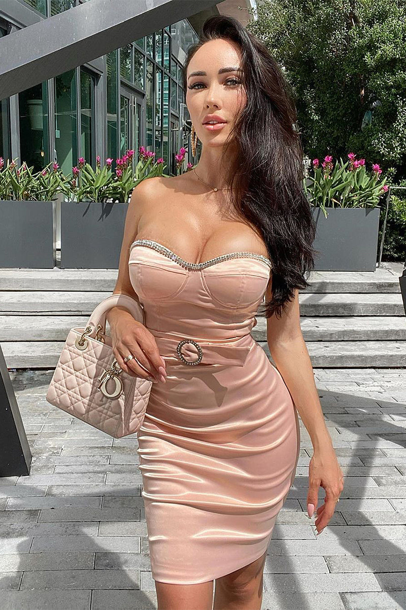 Diamond Strapless Belt Satin Dress