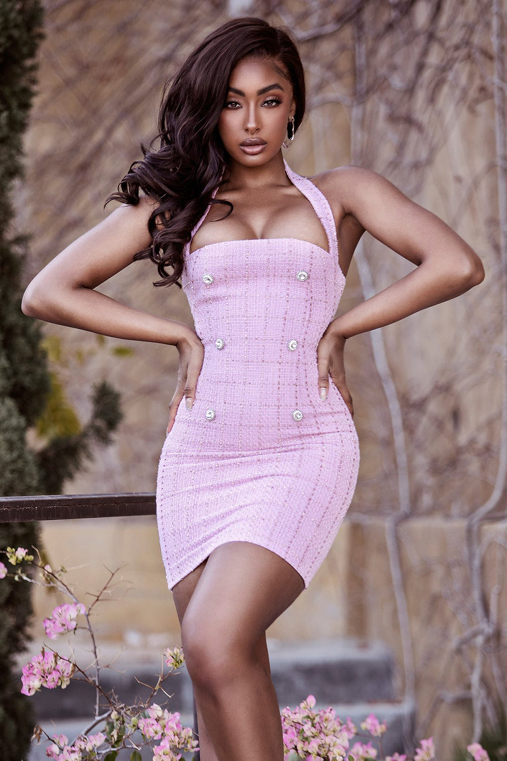Pink Halter Backless Button Bodycon Mini Dress