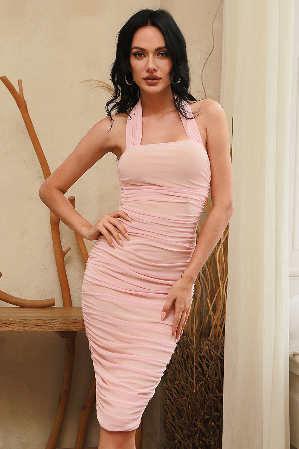 Pink Halter Sleeveless Mesh Bodycon Pleated Dress