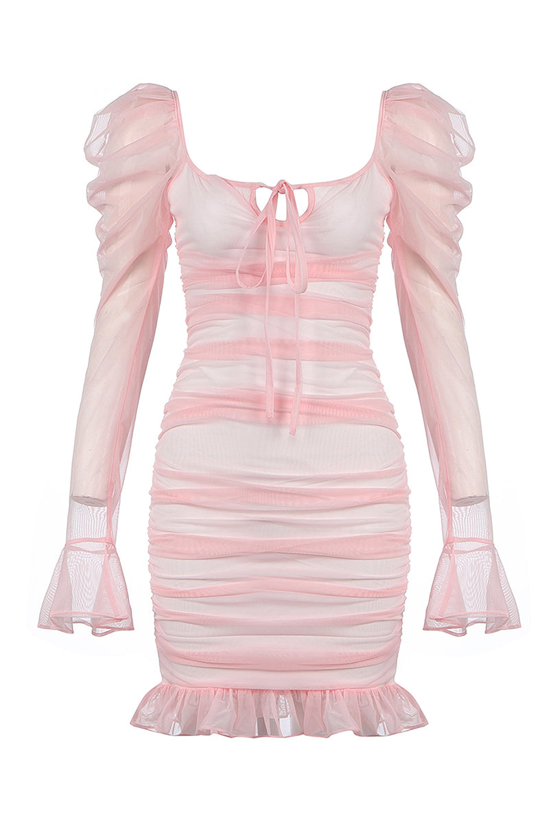 Long Sleeve Mesh Mermaid Pink Bodycon Bandage Dress