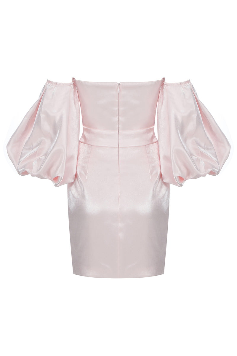 Short Sleeve Puff Pink Women Autumn Dress