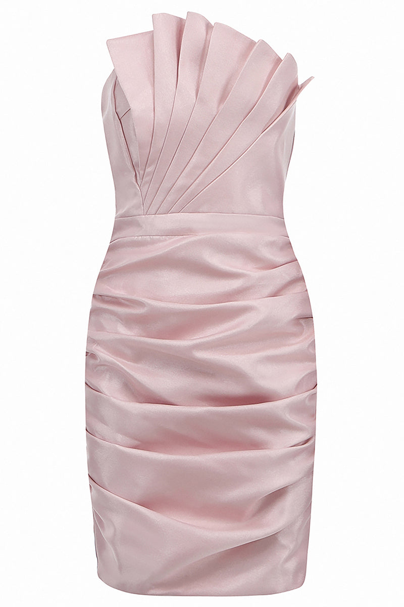 Pink Strapless Pleated Mini Dress