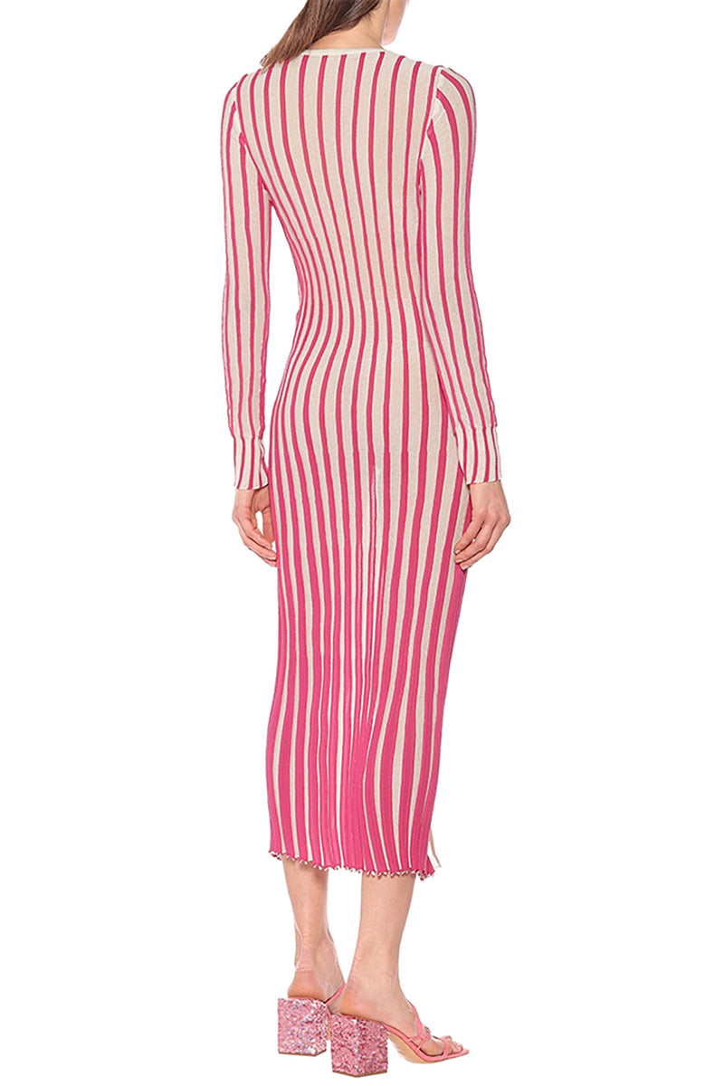 Pink Striped Cotton Blend Midi Dress