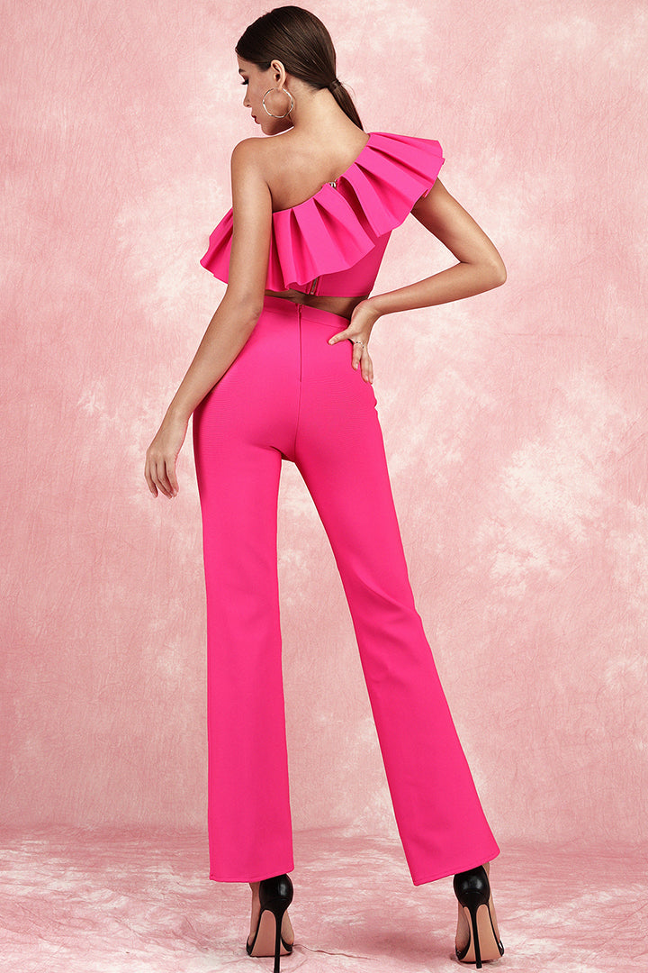 Two Piece One Shoulder Ruffles Short Tops Full Pants