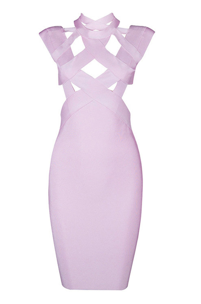 Criss O-Neck Sleeveless Cut Out Bandage Dress - CHICIDA