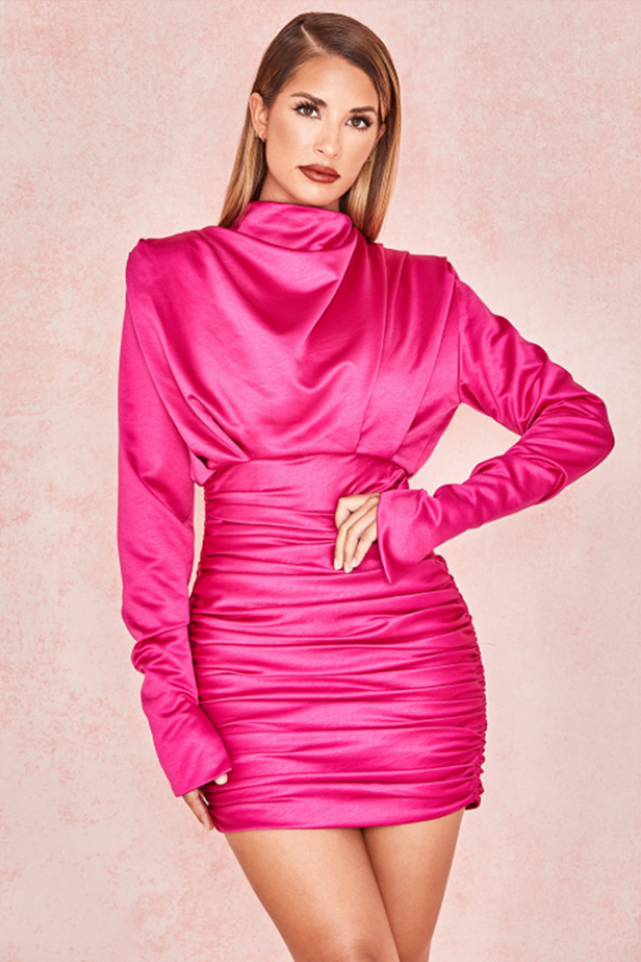Satin Draped Mini Dress - CHICIDA