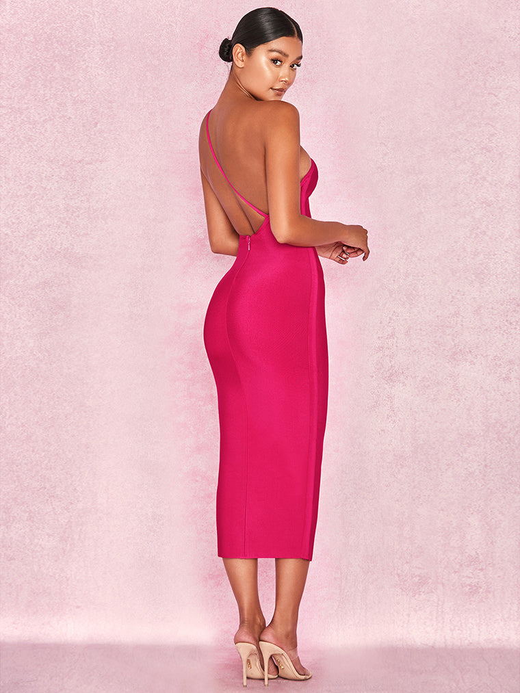 Pink One Shoulder Bandage Midi Dress - CHICIDA
