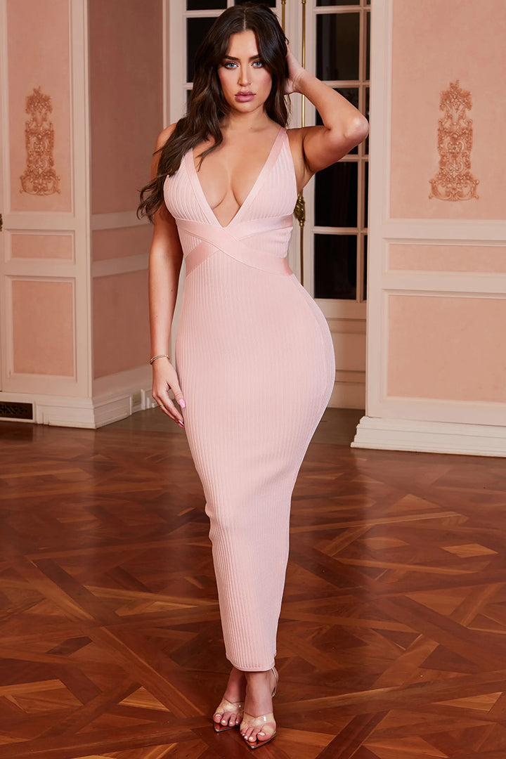 Blush Ribbed Bandage Midaxi Dress - CHICIDA