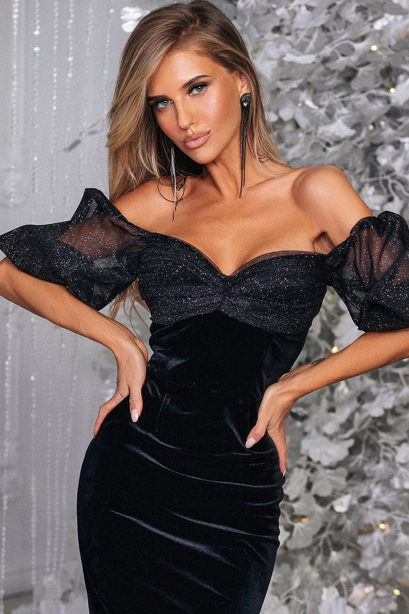 Black Puff Sleeve Mesh Stitching Velvet Dress