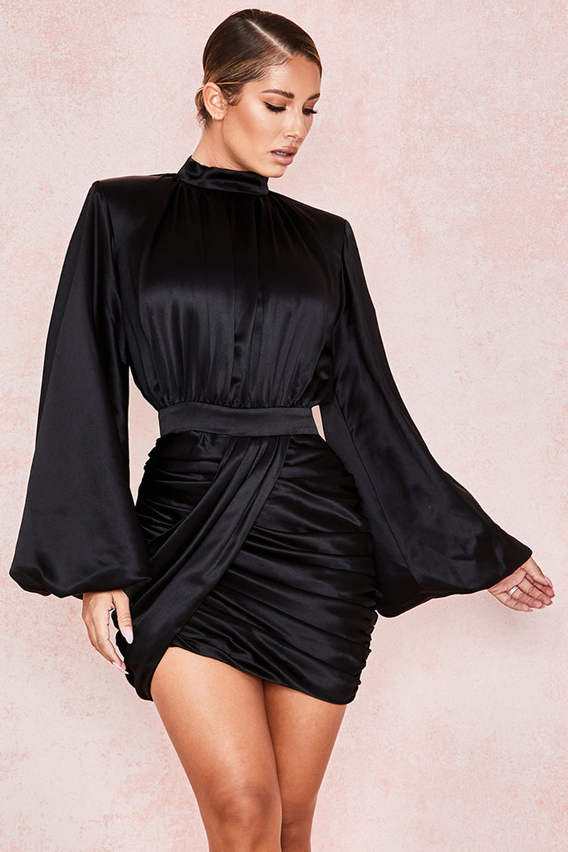 Puff Long Sleeve Stand Neck Slim Ruched Asymmetrical Embellished Drapped Mini Party Dress