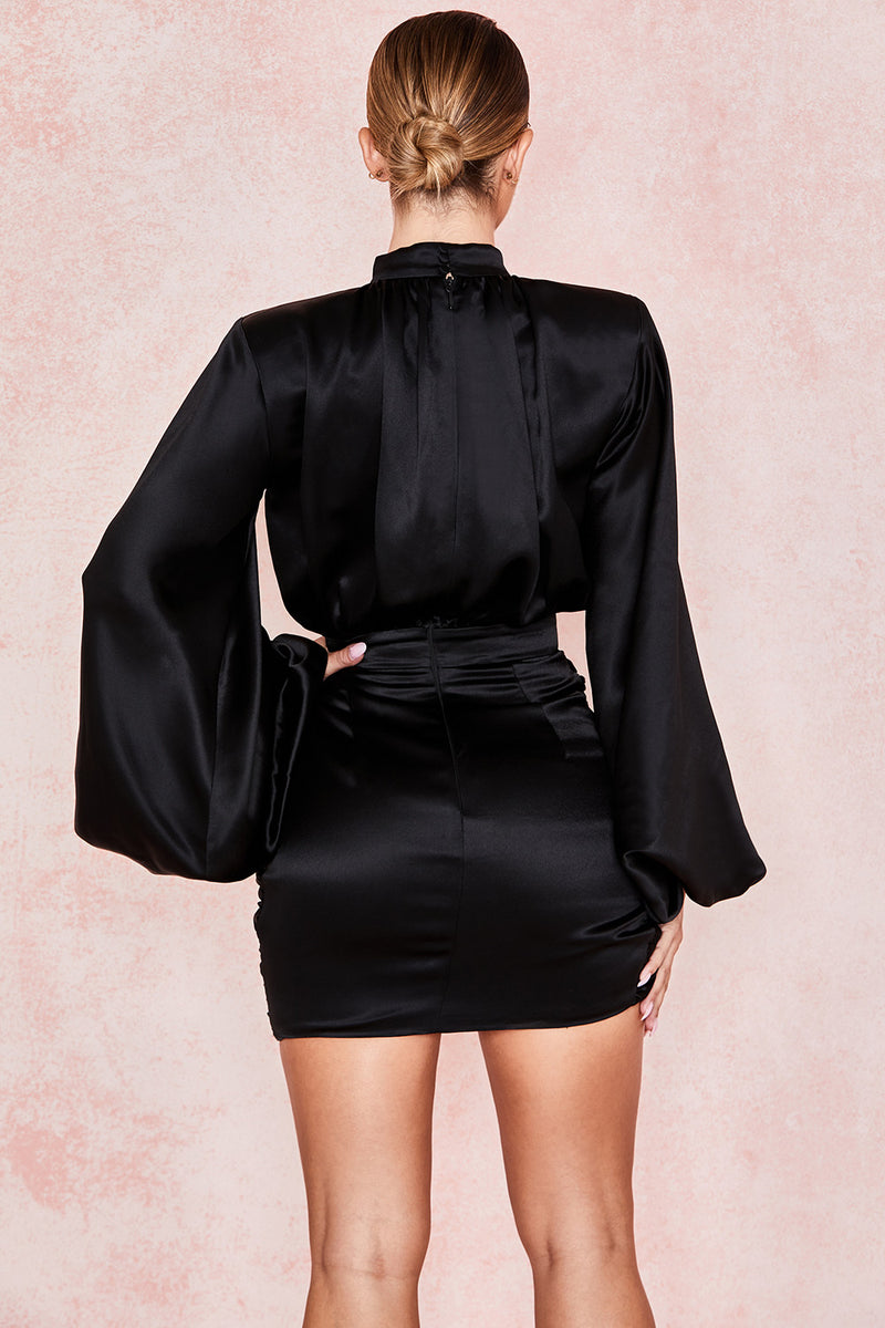 Puff Long Sleeve Stand Neck Slim Ruched Asymmetrical Embellished Drapped Mini Party Dress - CHICIDA