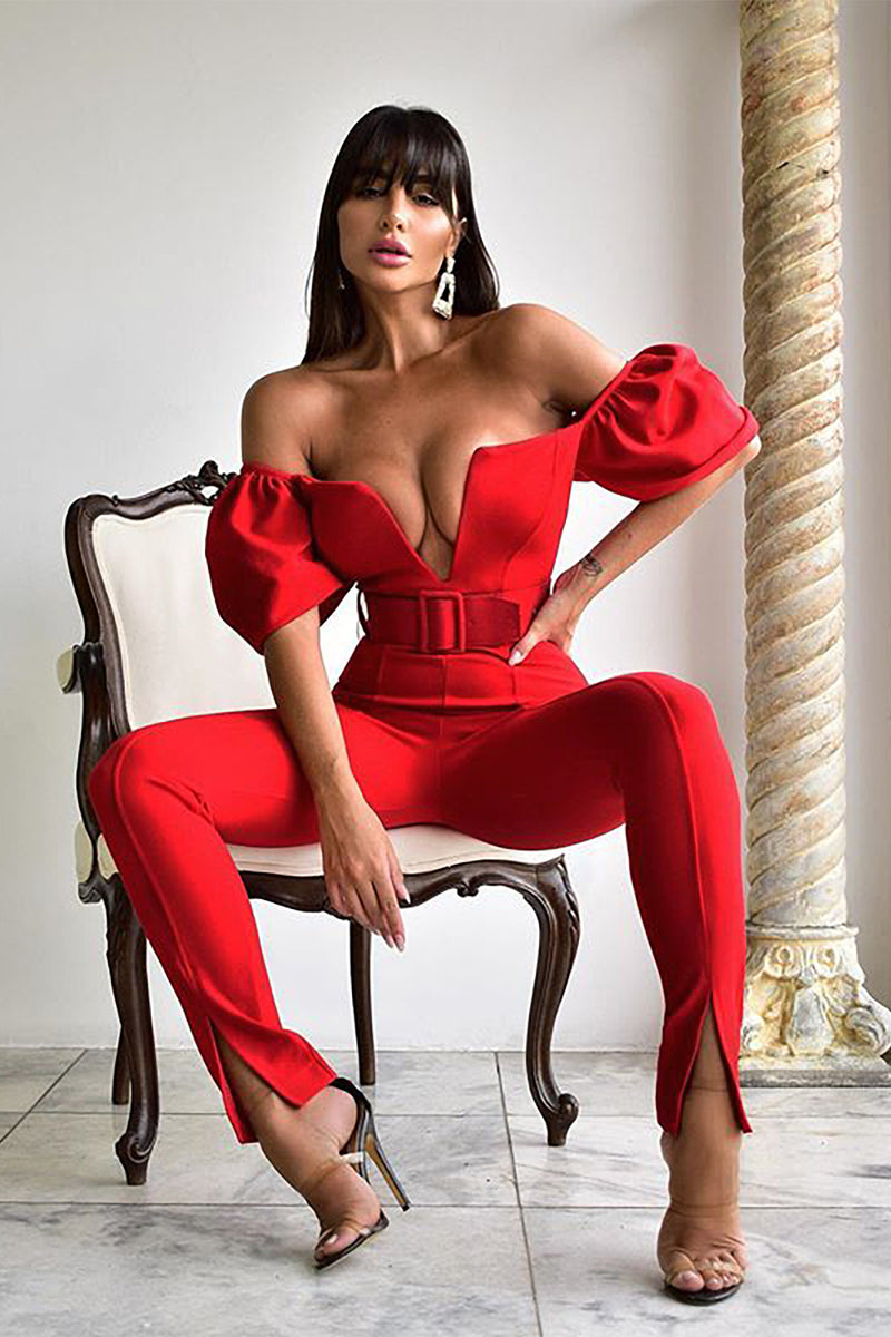 Short Sleeve Red Cotton Bodycon Jumpsuit