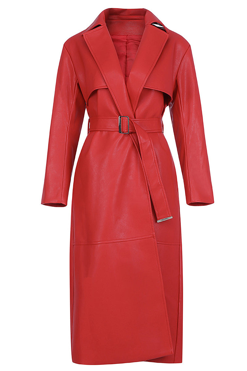 Long Sleeve V-neck Red PU Leather Long Trench Coat