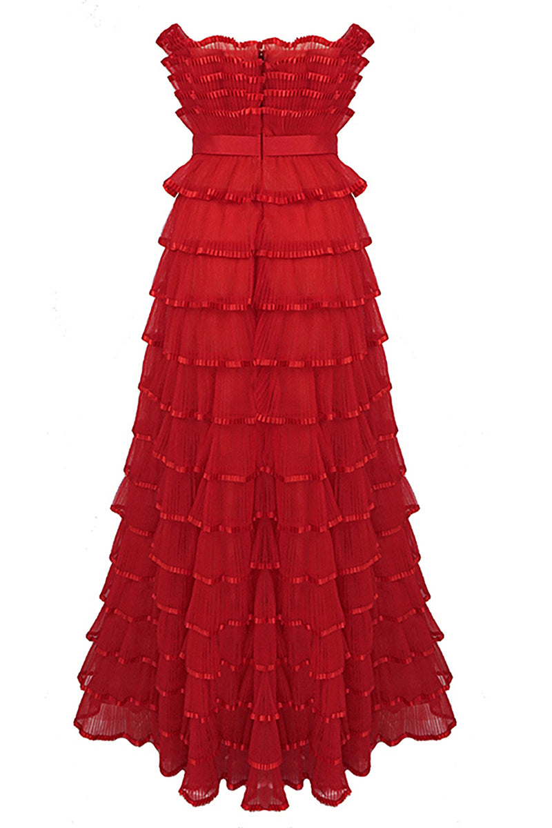 Red Off-Shoulder Backless Cascading Ruffled Maxi Dress
