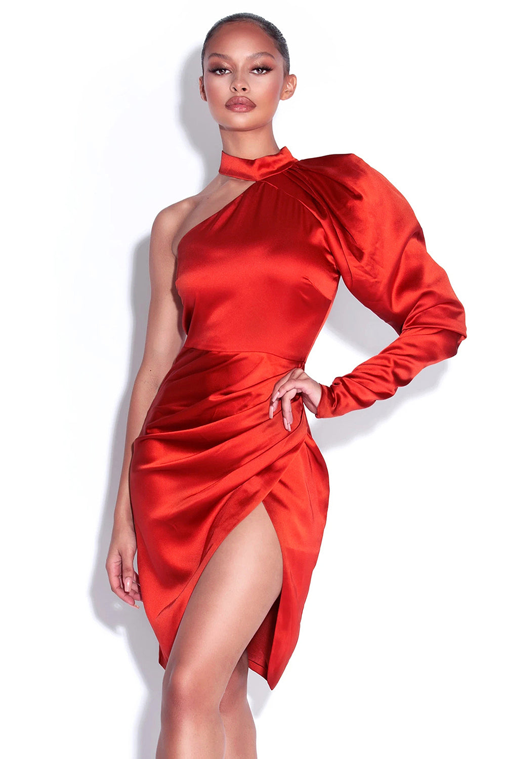 Red One Shoulder Puff Sleeves Satin Mini Dress