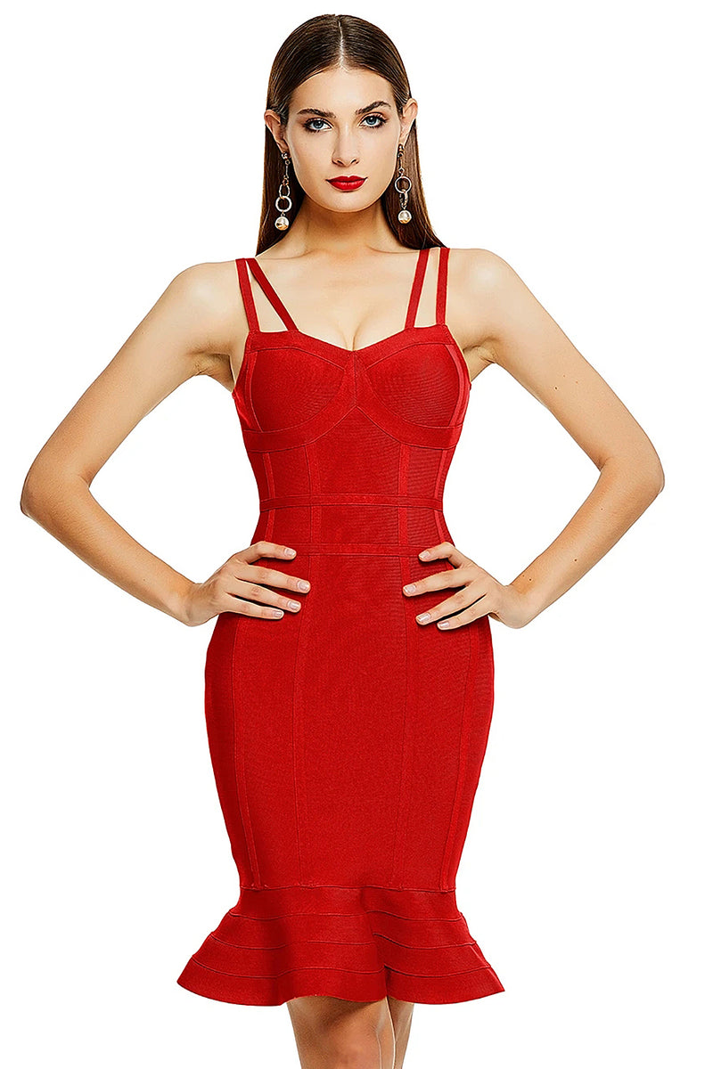 Red Spaghetti Strap Ruffle Bodycon Bandage Dress