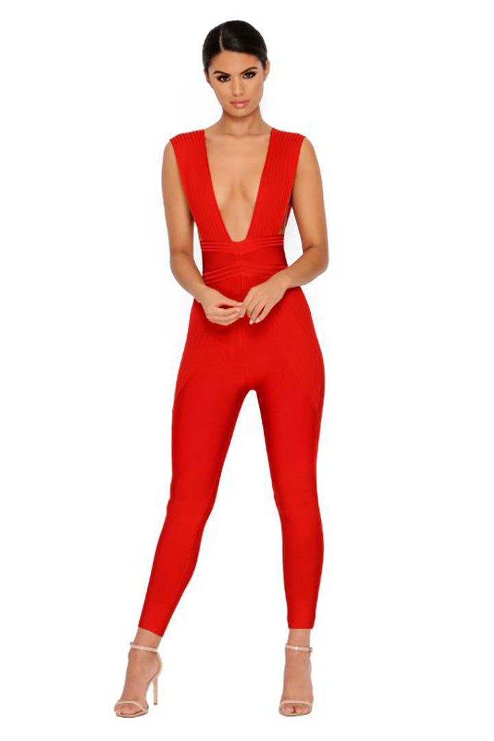 Red Bandage Plunge Jumpsuit