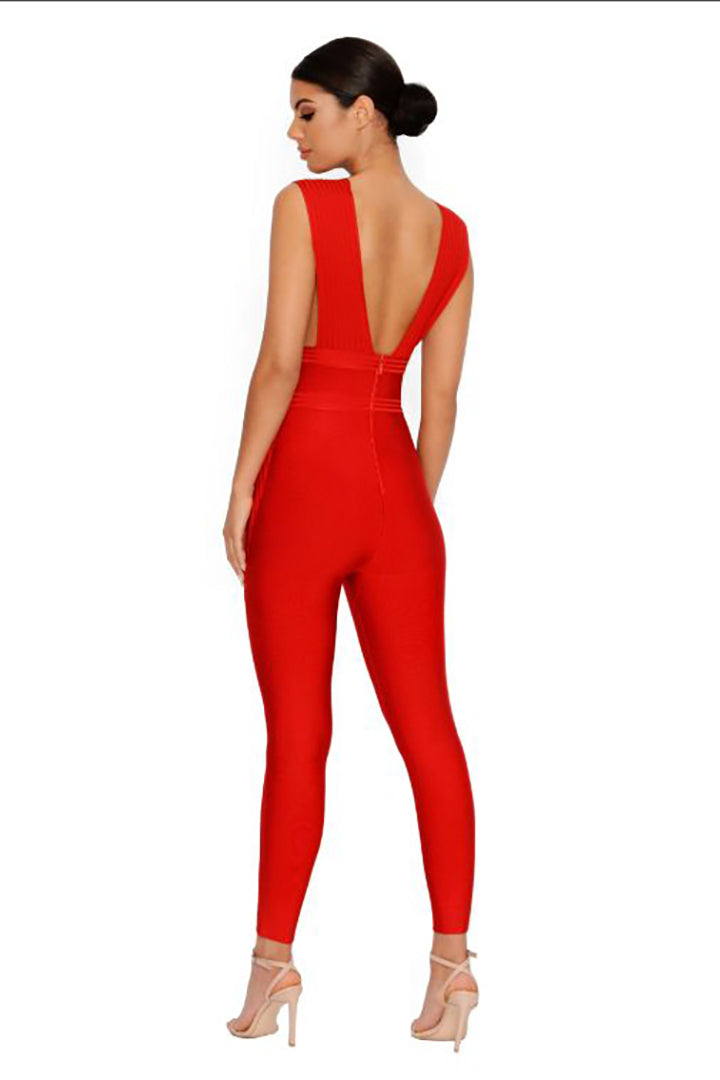 Red Bandage Plunge Jumpsuit - CHICIDA