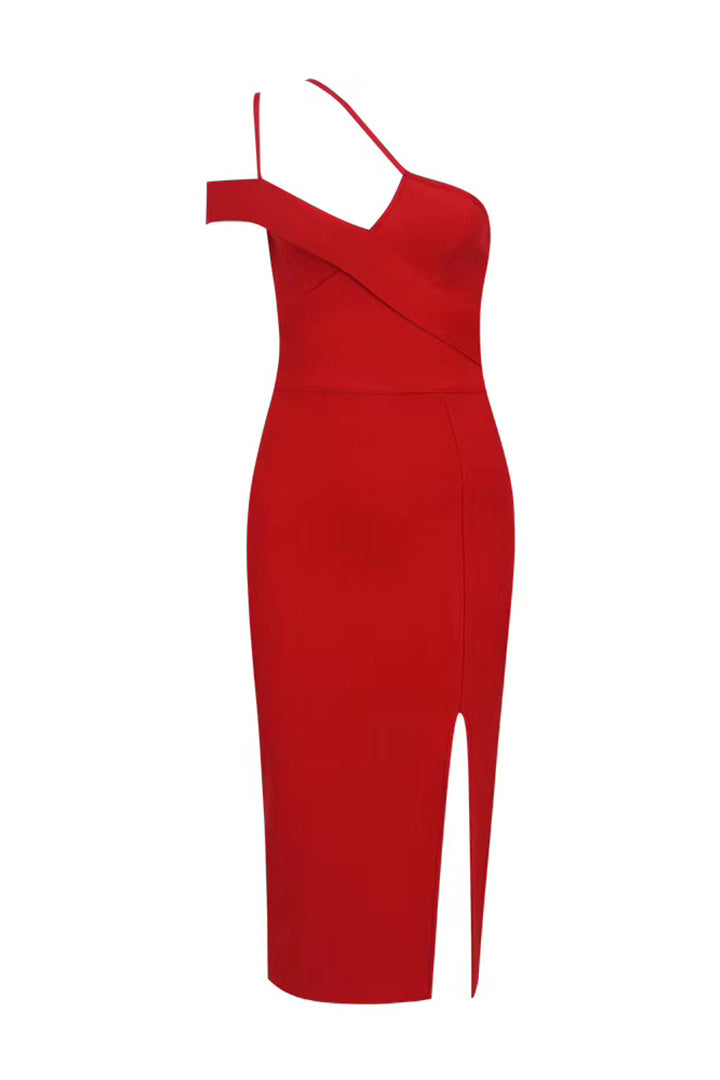Red One Shoulder Strappy Bandage Dress - CHICIDA