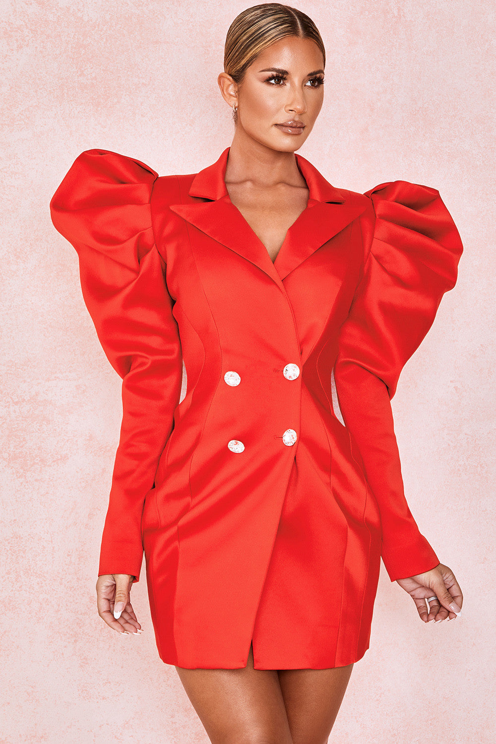Red Exaggerated Sleeve Tux Dress - CHICIDA