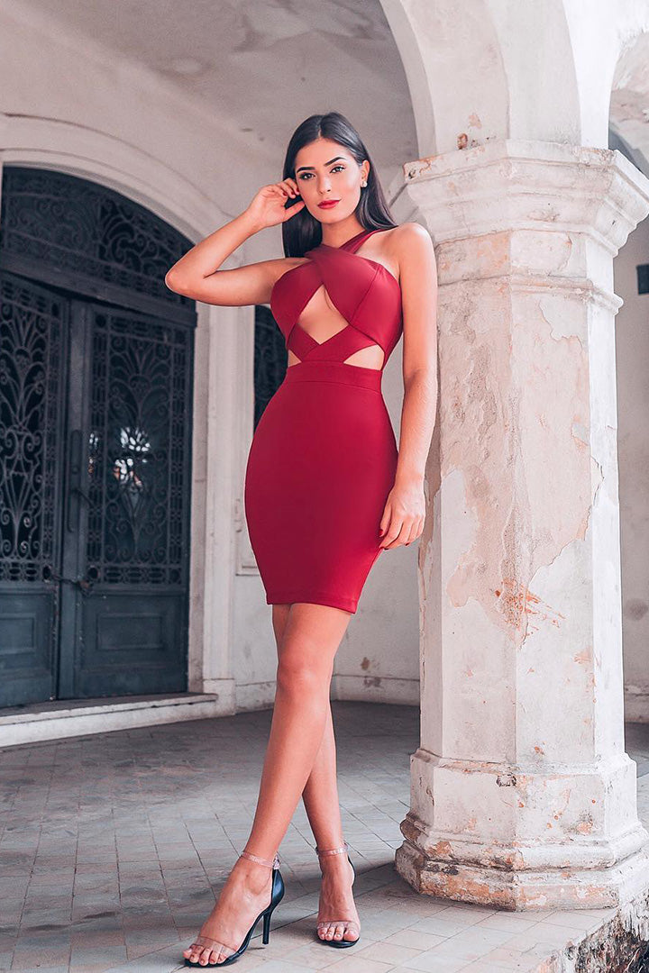 Halter Hollow Out Mini Dress Red Wine Black Pink - CHICIDA