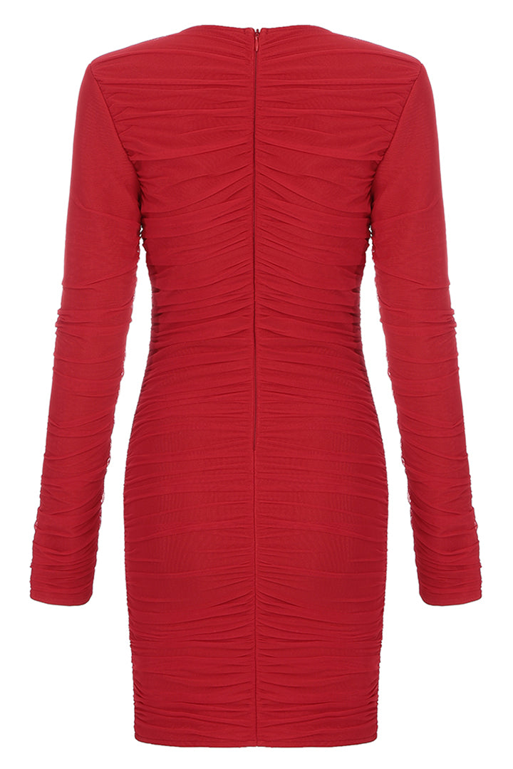 Red Long Sleeve V Neck Draped Lace Up Mini Dress - CHICIDA