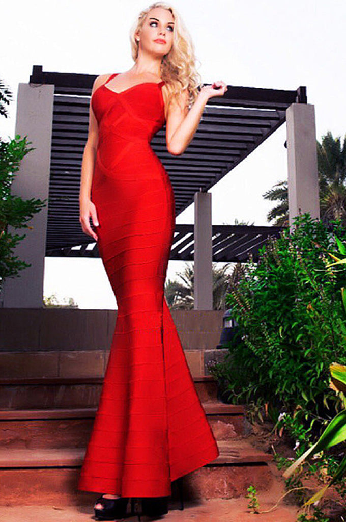 Red Wedding Party Dresses V-Neck Bandage Gown - CHICIDA