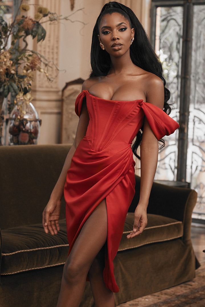 Red Satin Off-shoulder Dress - CHICIDA
