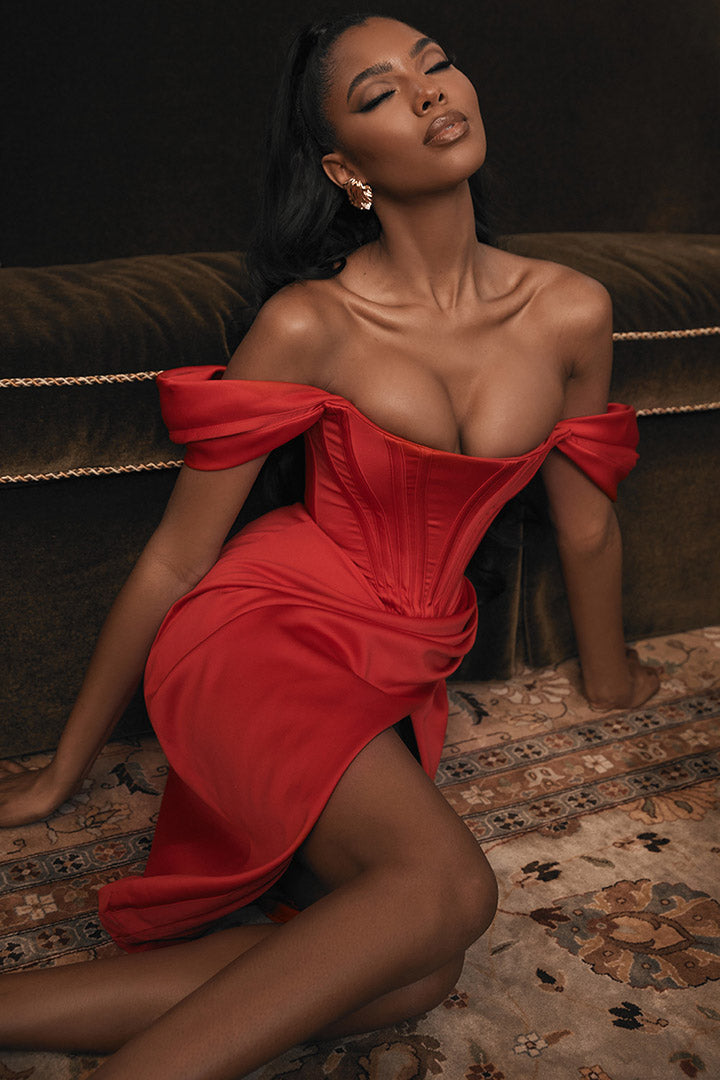 Red Satin Off-shoulder Dress
