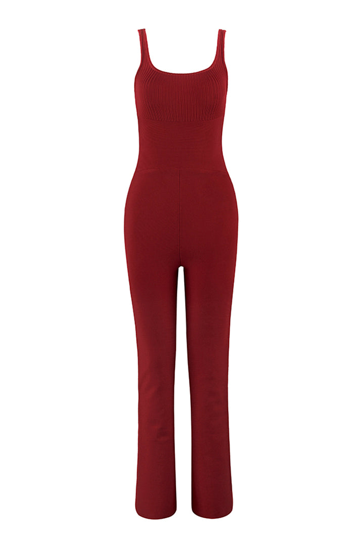 Summer Red  White Strappy Women Bandage Jumpsuit - CHICIDA
