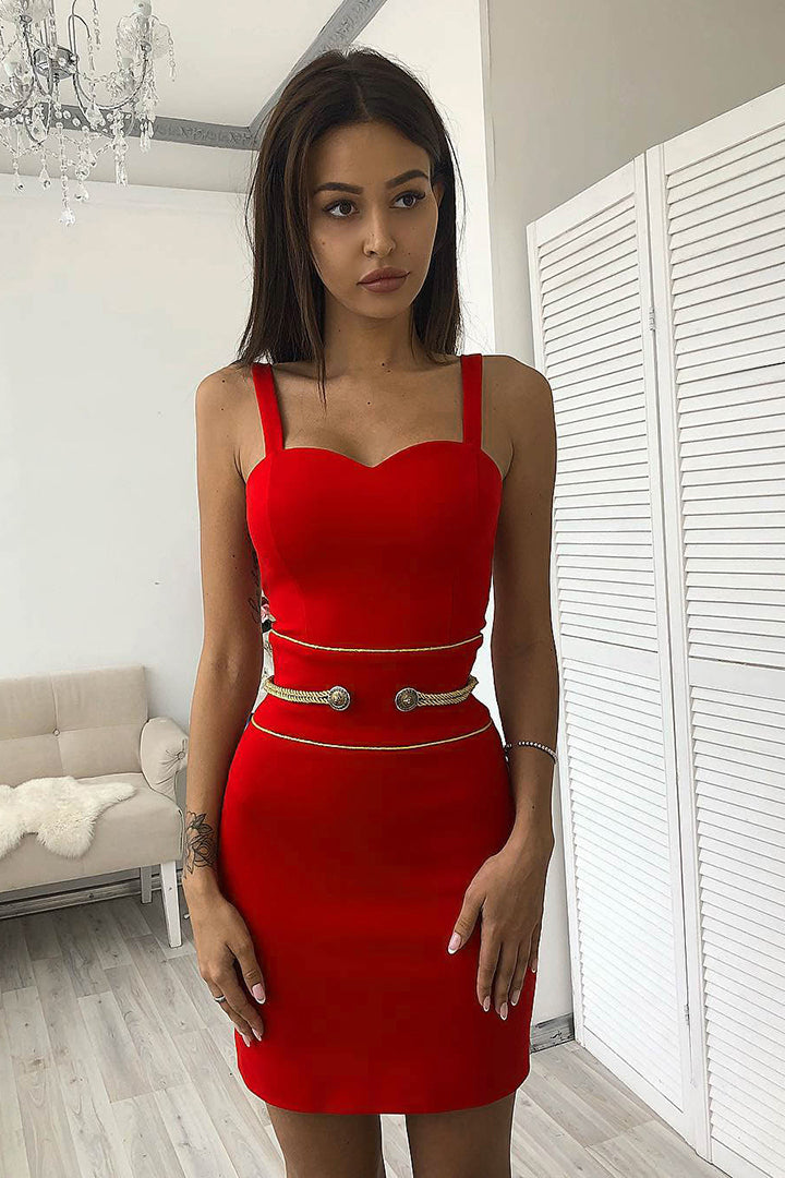 Red Strappy Button Details Mini Bandage Dress - CHICIDA