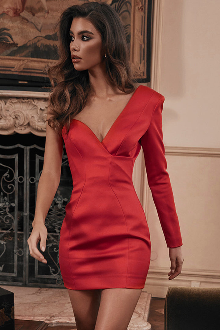 Red One Shoulder Satin Dress - CHICIDA