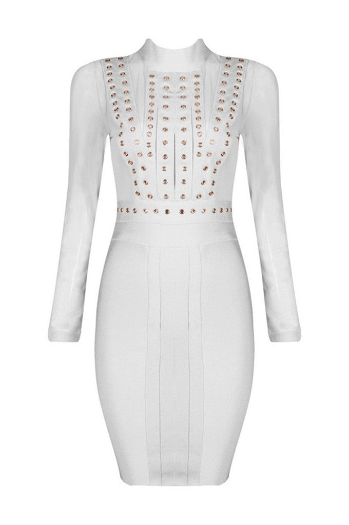 Rivet Studded Long Sleeve Sexy Mesh Bandage Dress - CHICIDA