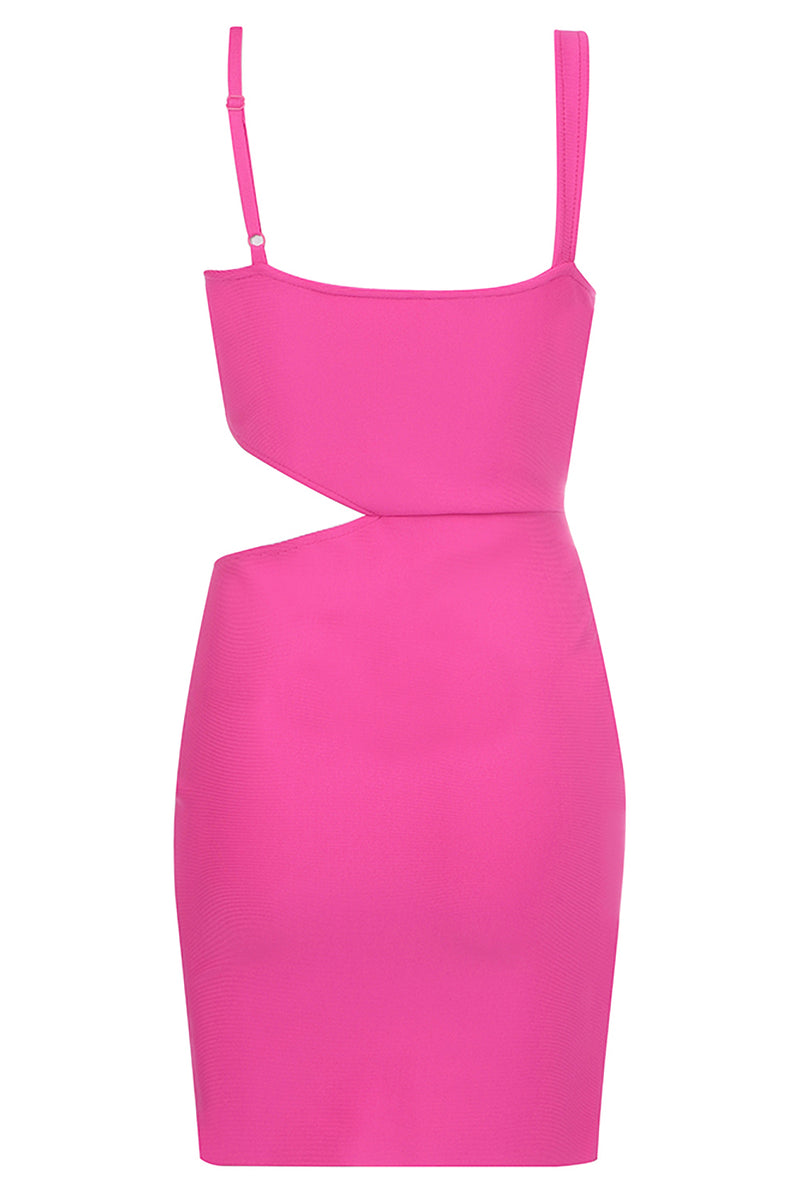 Rose Red Hollow Mini Bandage Dress