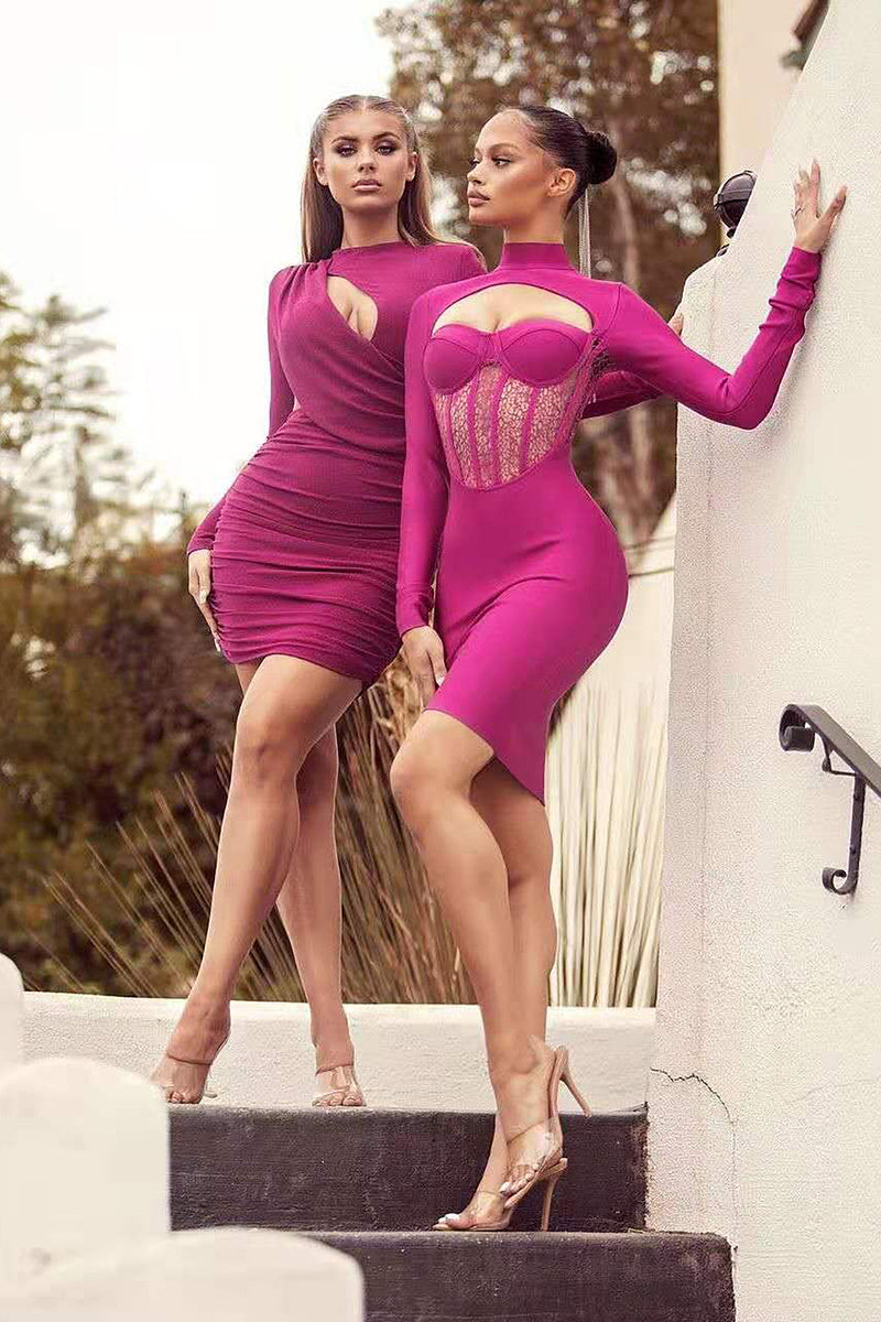 Rose Red Lace Hollow Out Bodycon Bandage Dress