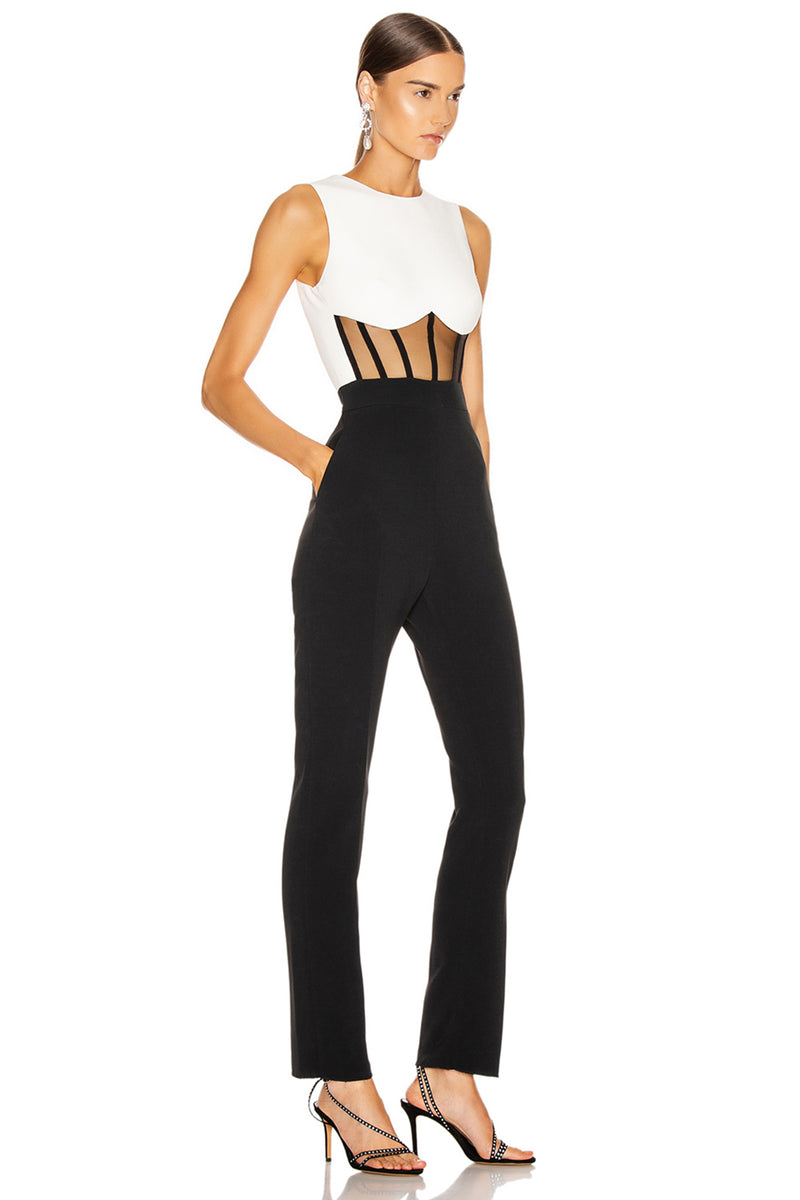 O Neck Sleeveless Hollow Out Jumpsuit Playsuit - CHICIDA
