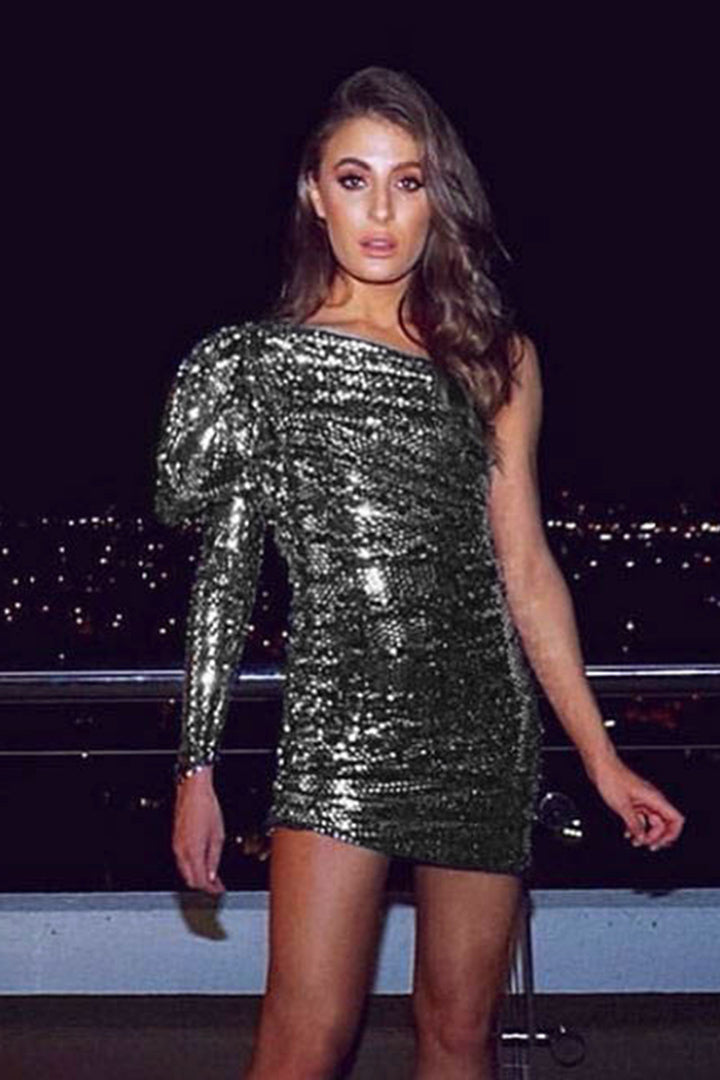 Sequin One Shoulder Puff Sleeve Monarch Dress