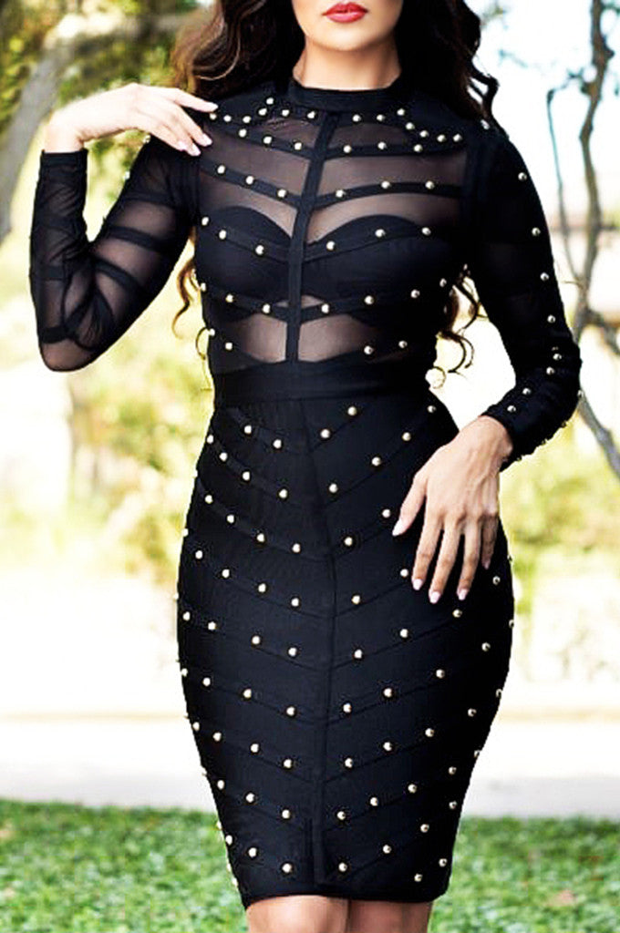 Lace Top Bodycon Striped Pencil Skirt Two Piece Bandage Dress