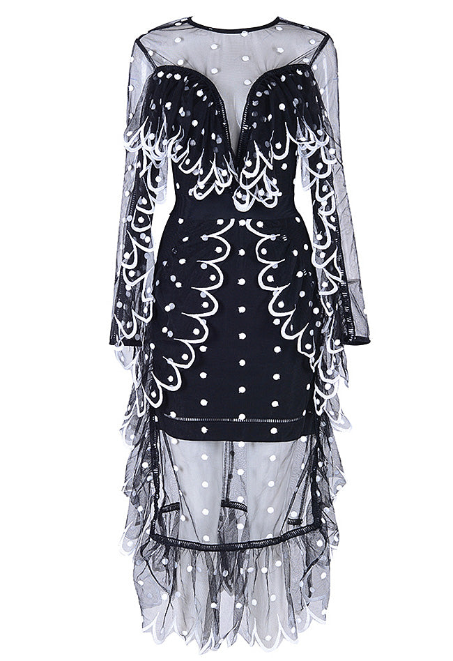 Sexy Black White Dot Women Lace Mesh Dress - CHICIDA