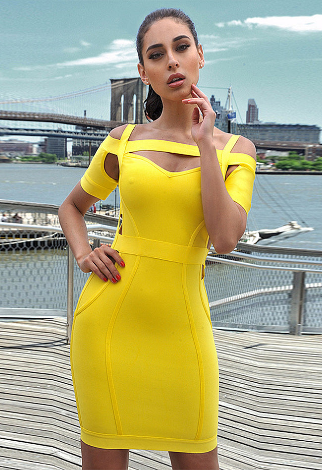 Cut Out Yellow Bandage Dress - CHICIDA