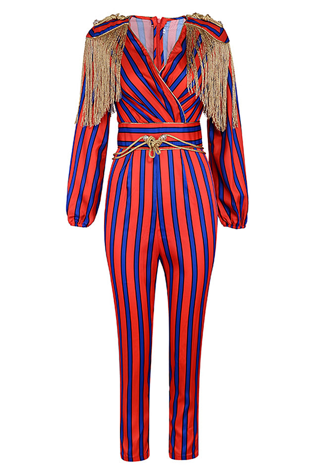 Red Blue Striped Tassel Party Jumpsuit - CHICIDA
