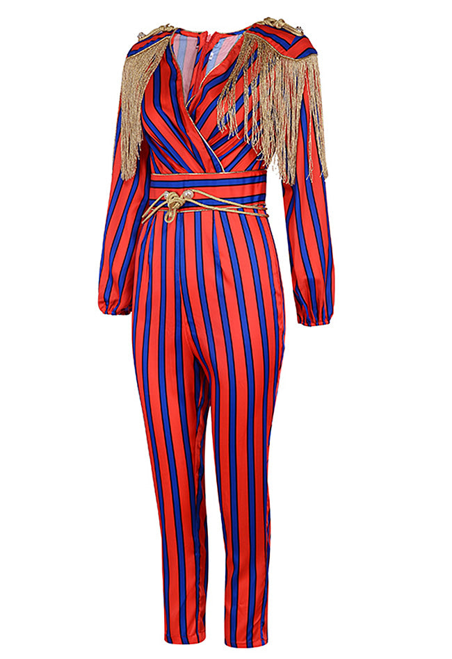 26ed317402c Red Blue Striped Tassel Party Jumpsuit – CHICIDA