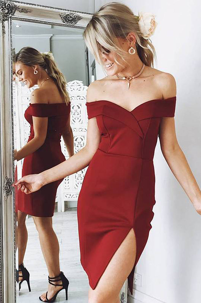 Sexy Off Shoulder Mini Bandage Party Dress - CHICIDA