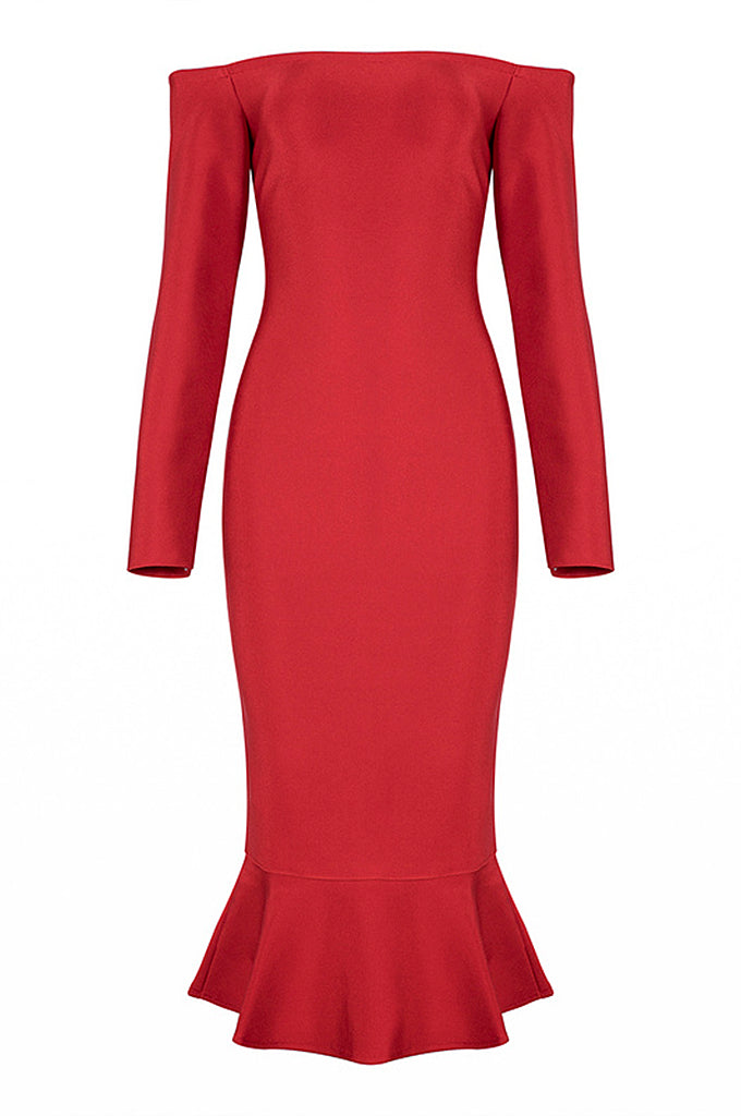 Casual Mermaid Off Shoulder Autumn Women Bandage Dress - CHICIDA