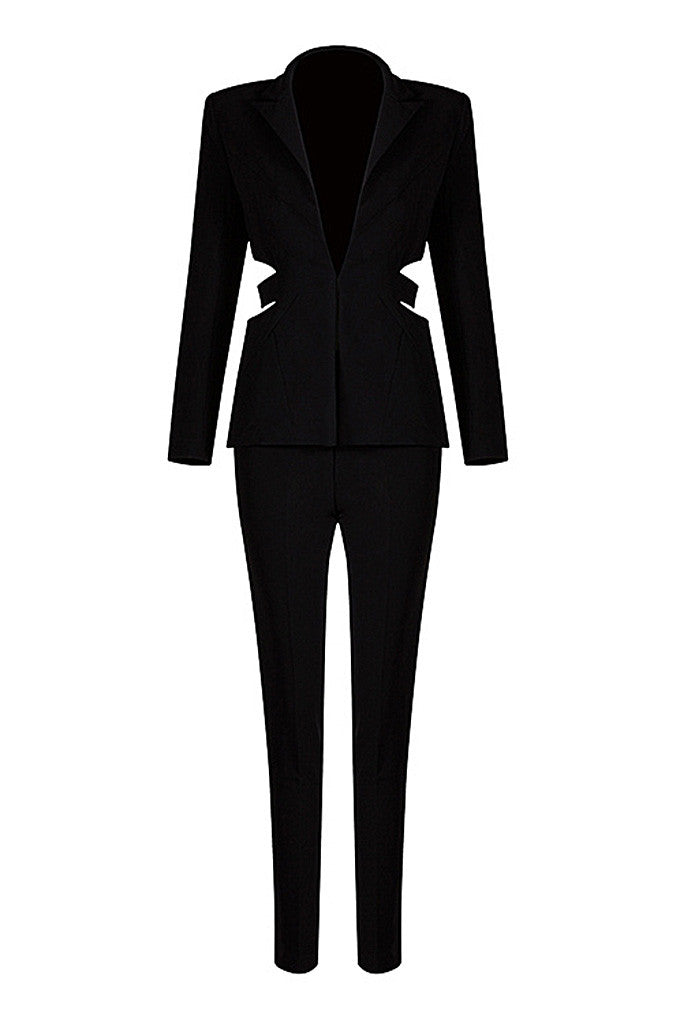 Deep V Blazer Skinny Cut Out Formal Pant Suits - CHICIDA