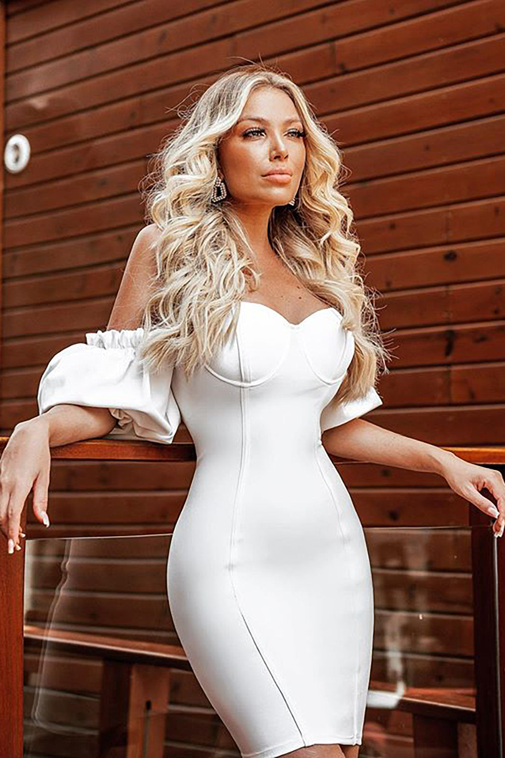 Short Puff Sleeve Off Shoulder Mini Bandage Dress