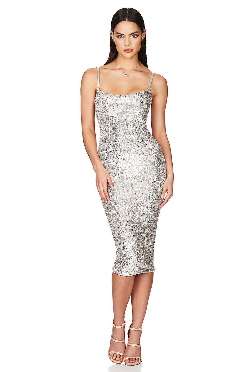 Sequin Spaghetti Strap Midi Dress