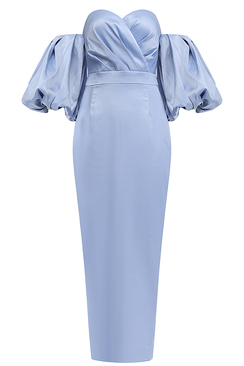 Sky Blue Off Shoulder Backless Puff Sleeves Midi Dress