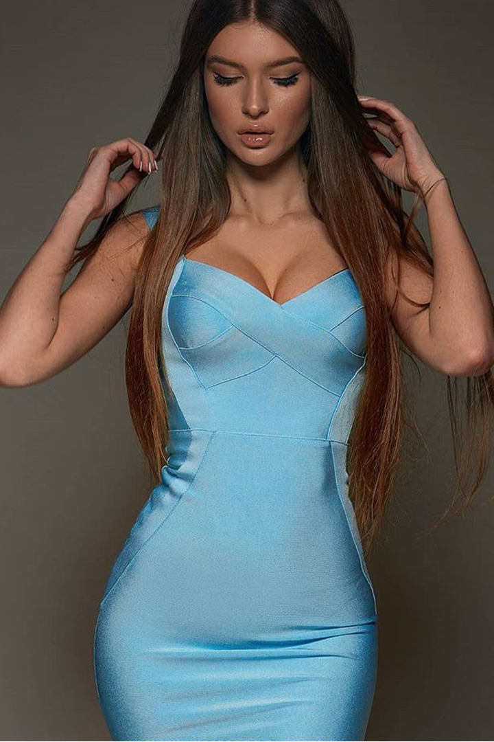 Amazing Bandage Strappy Mini Dress White Black Red Beige Light Blue - CHICIDA