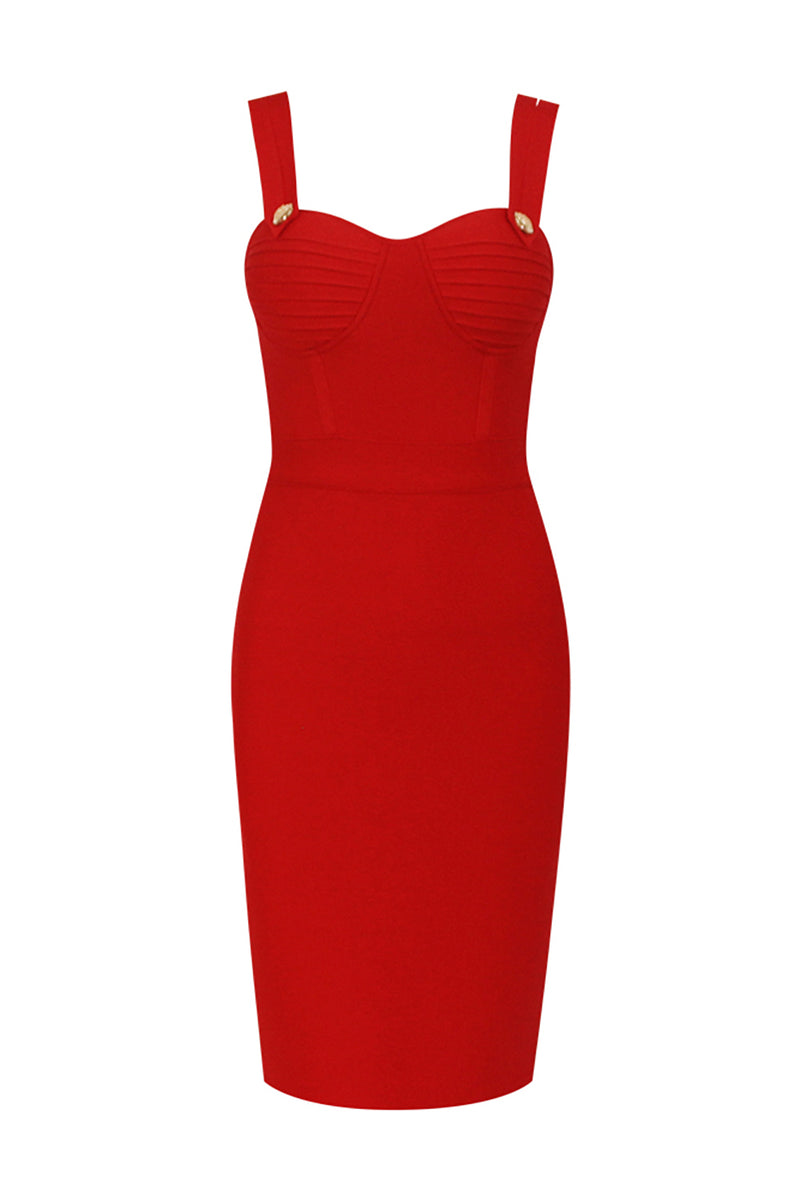 Sheath Ribbed Strappy Bandage Dress - CHICIDA